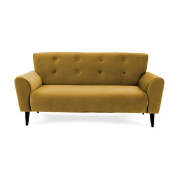 Canapea cu 3 locuri Vivonita Kiara, galben muștar de la Vivonita
