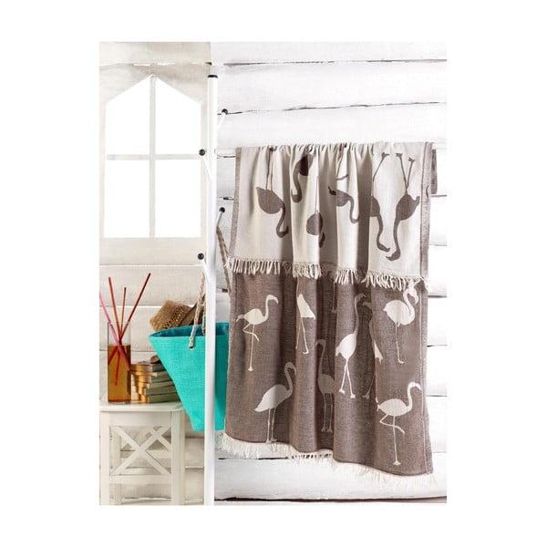 Brązowy ręcznik Flamingo, 180x100 cm