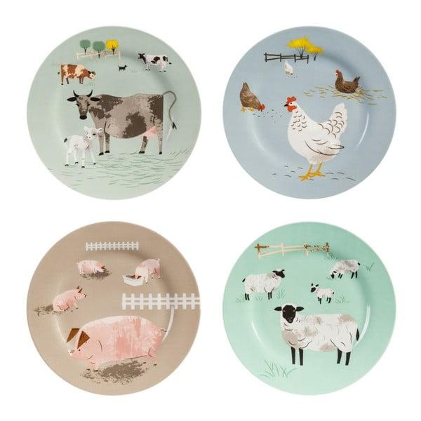 Sada 4 talířů Magpie Hugglets Wood, 19 cm