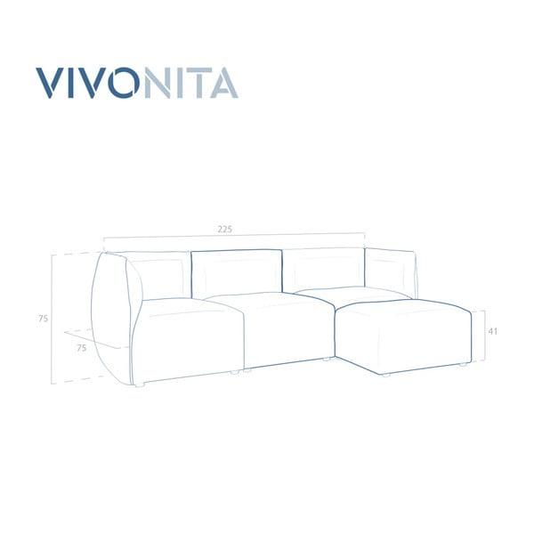 Šedá třímístná modulová pohovka s podnožkou Vivonita Cube