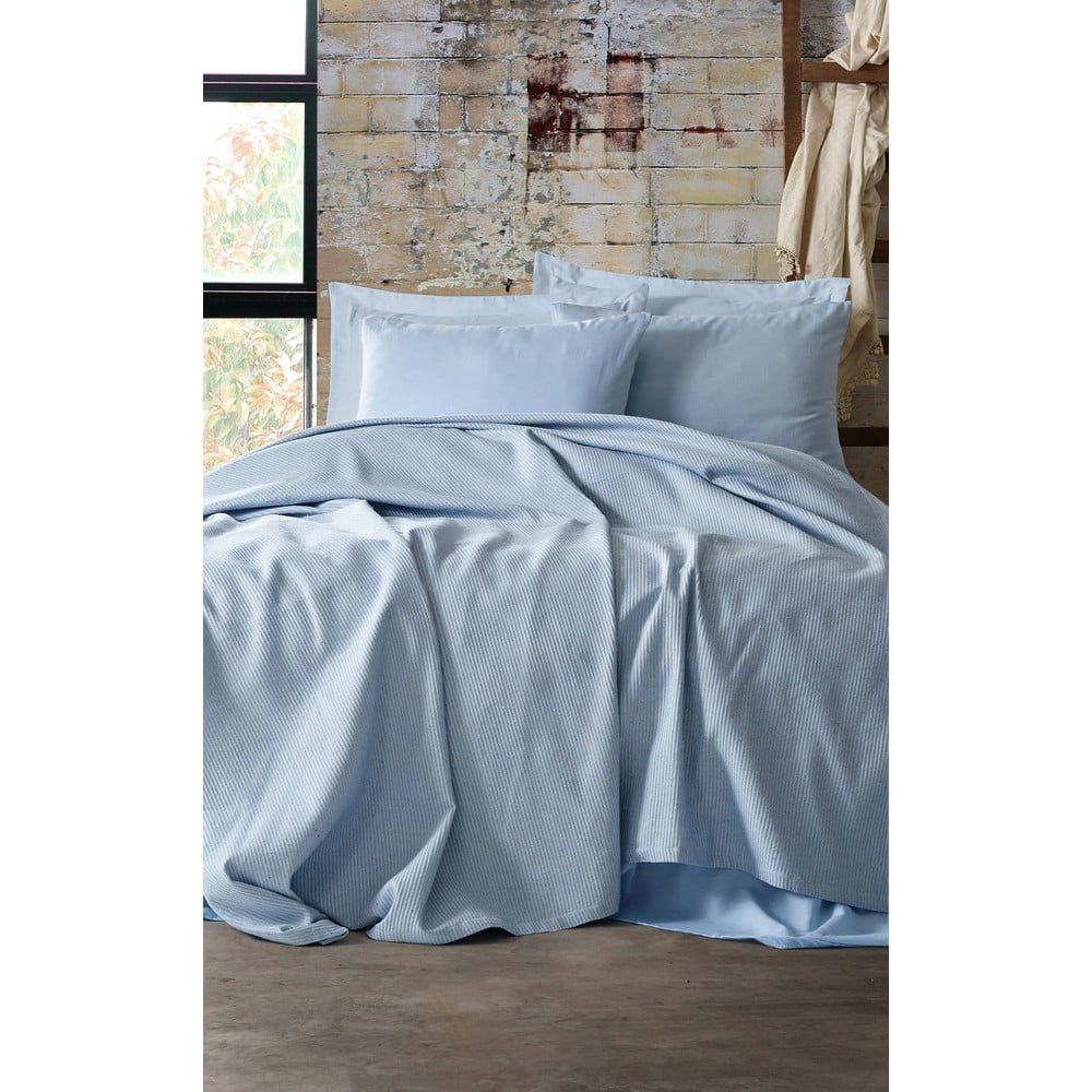 Set přehozu, prostěradla a povlaku na polštář EnLora Home Deportes Light Blue, 160 x 235 cm