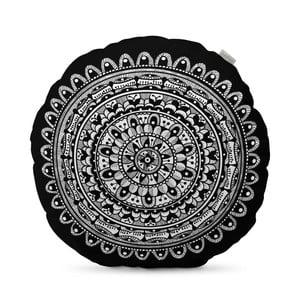 Černý polštář HF Living Mandala, ⌀50cm