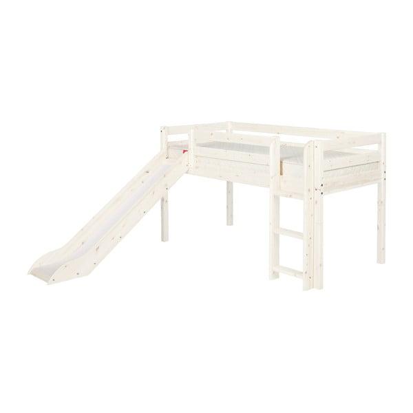 Bílá středně vysoká dětská postel z borovicového dřeva se skluzavkou Flexa Classic, 90x200cm