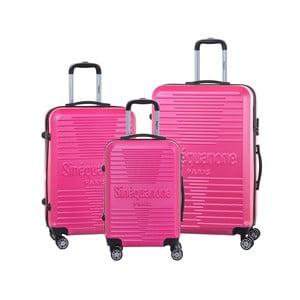 Sada 3 růžových cestovních kufrů na kolečkách se zámkem SINEQUANONE