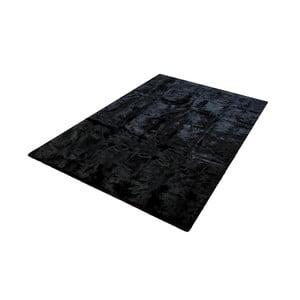 Černý koberec z králičí kůže Pipsa Blanket, 180x120cm