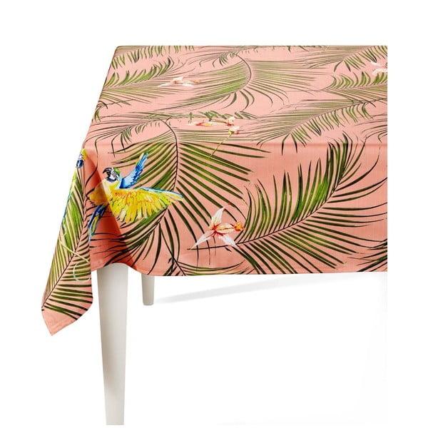 Růžový ubrus s palmami The Mia Parrot, 230 x 150 cm