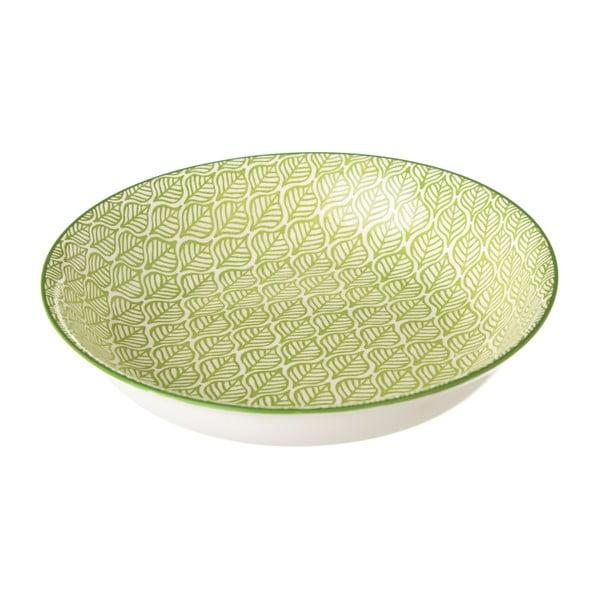 Zelenobílý porcelánový hluboký talíř Unimasa Leaf