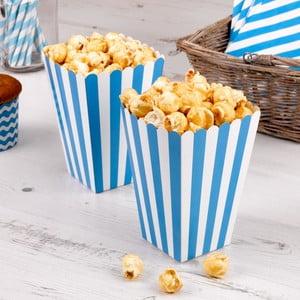 Sada 8 modrých papírových krabiček na popcorn Neviti Carnival Stripes
