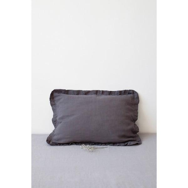 Față de pernă din in cu tiv plisat Linen Tales, 50 x 60 cm, gri închis