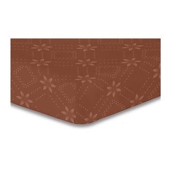 Cearșaf cu elastic, din microfibră DecoKing Hypnosis Snowynight, 200 x 220 cm, maro