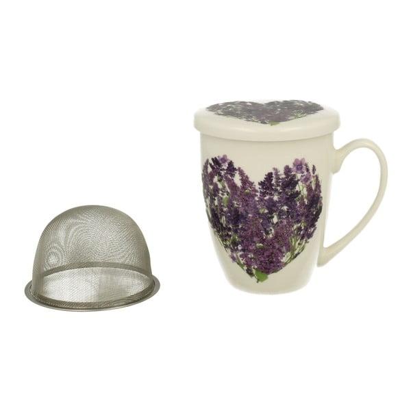 Porcelánový hrnek s víčkem a sítkem Duo Gift Bloss, 320 ml