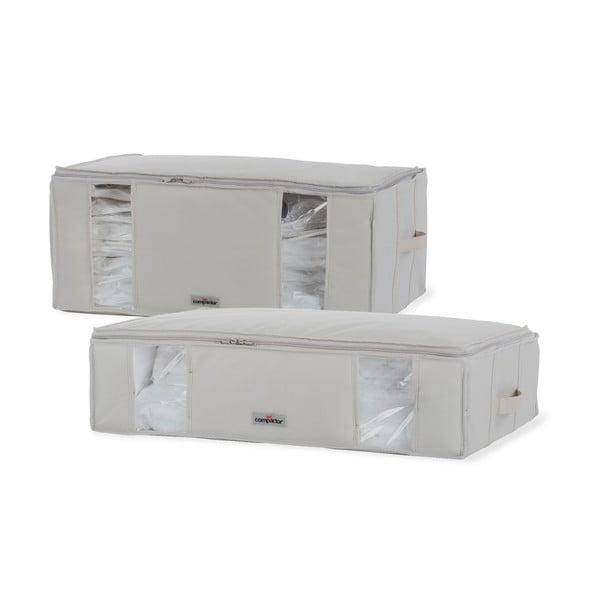 Sada 2 béžových úložných boxů pod postel s vakuovým obalem Compactor XXL Life Underbed Bags
