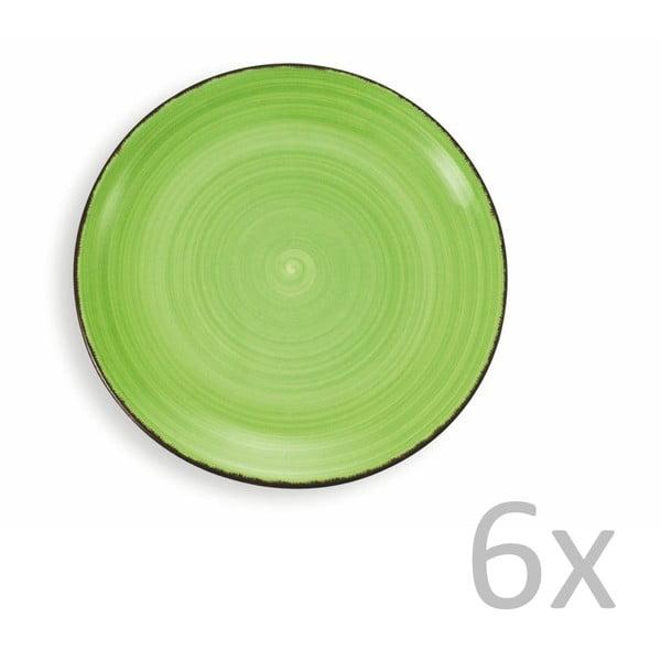 Sada 6 světle zelených talířů Villa d'Este New Baita, Ø27cm