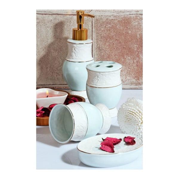 Komplet turkusowych dodatków łazienkowych Baroque