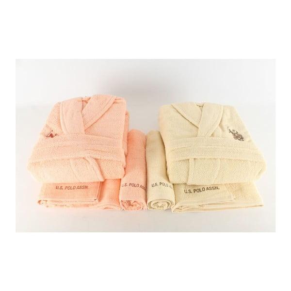 Sada dámského a pánského županu a 4 ručníků US Polo Cream