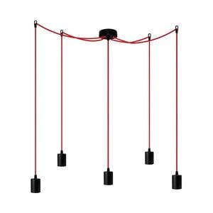 Závěsné svítidlo s 5 červenými kabely Bulb Attack Cero