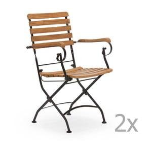Sada 2 černých zahradních židlí z akátového dřeva s područkami SOB
