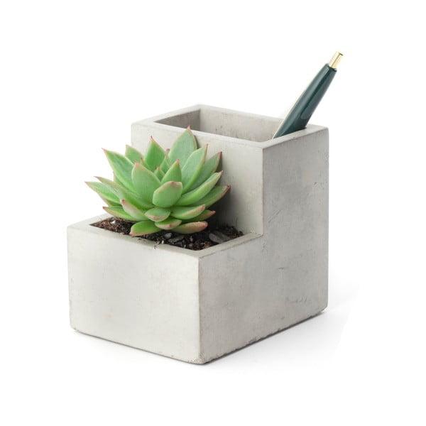 Betonowa doniczka ze stojakiem na ołówki Kikkerland, szer. 9,6 cm