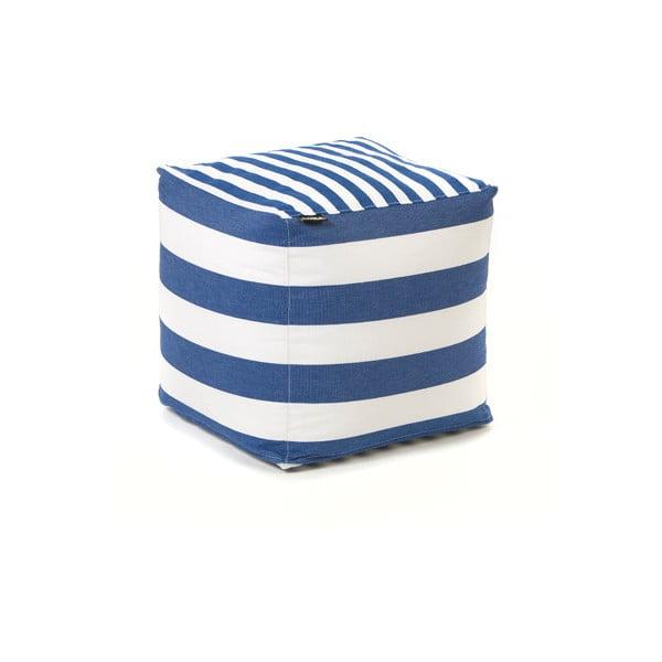 Sedací puf Lona, modré a bílé proužky