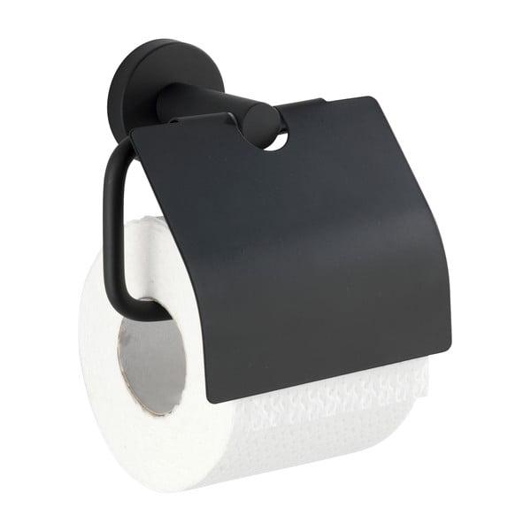 Černý držák natoaletní papír Wenko Bosio Cover