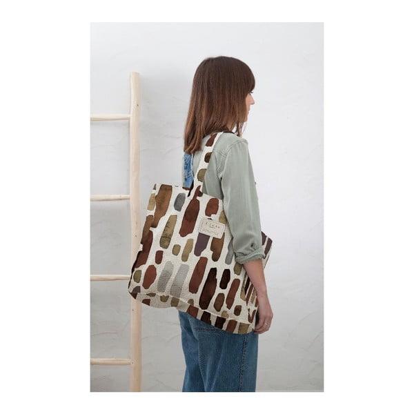 Geantă textilă Linen Geometric, lățime 50 cm