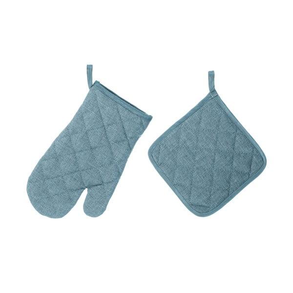 Set světle modré chňapky a rukavice Unimasa