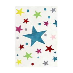 Covor pentru copii cu stele colorate Happy Rugs Stars, 160 x 230 cm, alb