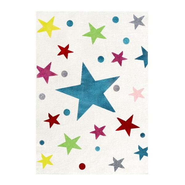 Covor pentru copii cu stele colorate Happy Rugs Stars, 120 x 180 cm, alb