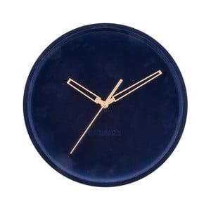 Tmavě modré sametové nástěnné hodiny Karlsson Lush,ø30cm