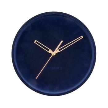 Ceas din catifea pentru perete Karlsson Lush, albastru închis, ø 30 cm de la Karlsson