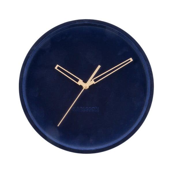 Ceas din catifea pentru perete Karlsson Lush, albastru închis, ø 30 cm