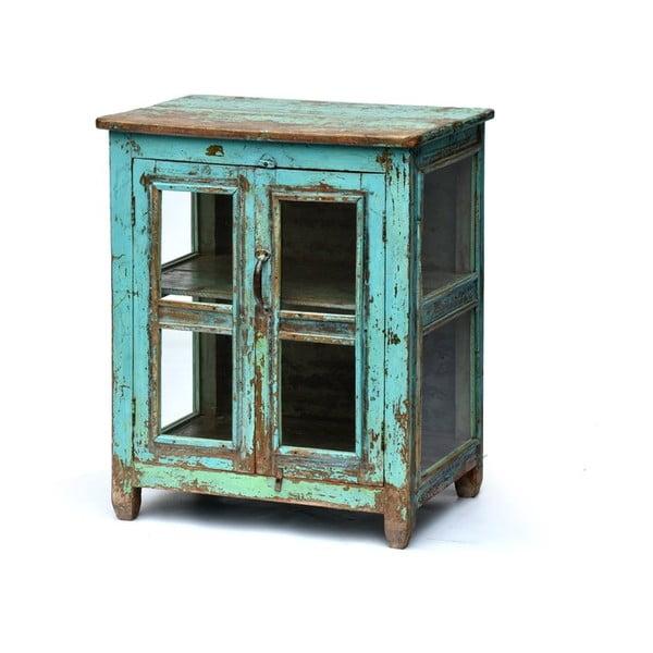 Prosklená skříňka Goa 65x79 cm, modrá patina