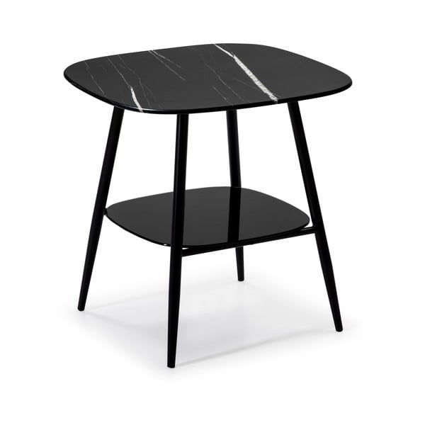 Czarny stolik ze szklanym blatem w dekorze marmuru Marckeric Alina
