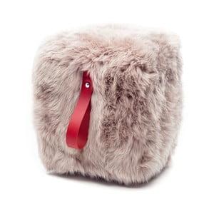 Hnědo-červený světlý hranatý puf z ovčí vlny Royal Dream