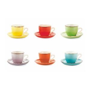 Set 6 cești cu farfurioare colorate Villa d´Este