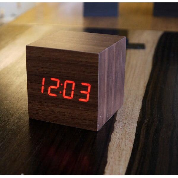 Ceas deșteptător cu LED Gingko Cube Click Clock, maro - roșu