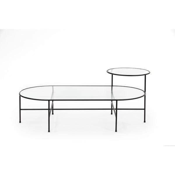 Czarny stolik ze szklanym blatem Teulat Nix