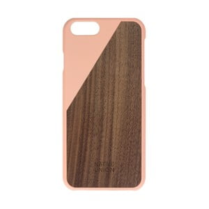 Světle růžový obal na mobilní telefon s dřevěným detailem pro iPhone 6 a 6S Native Union Clic Wooden Light