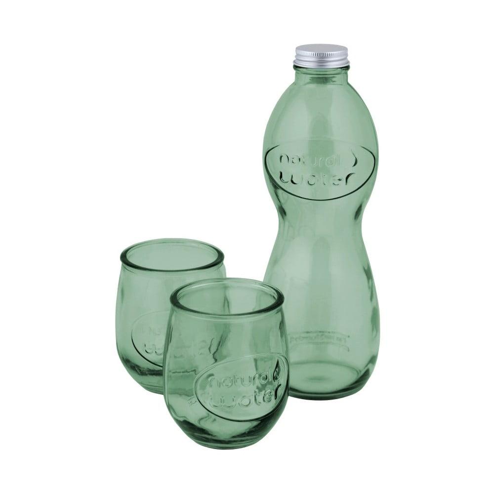 Set světle zelené lahve na vodu a 2 sklenic z recyklovaného skla Ego Dekor Water