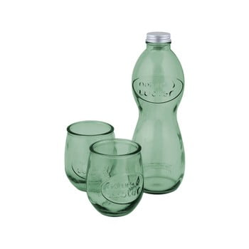 Set 1 sticlă și 2 pahare din sticlă reciclată Ego Dekor Water, verde imagine