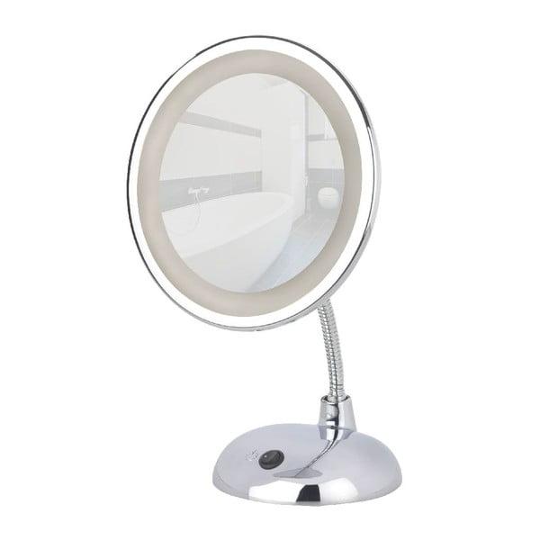 Chromowane lusterko kosmetyczne z oświetleniem LED Wenko Style