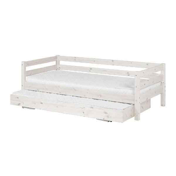 Białe łóżko dziecięce z drewna sosnowego z wysuwanym łóżkiem Flexa Classic, 90x200 cm