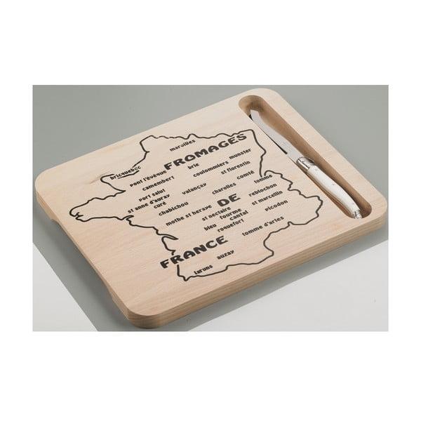 Set dřevěného prkénka s motivem mapy Francie a nože na sýry Jean Dubost