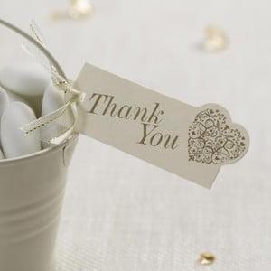 Sada 10 bílo-zlatých visaček Neviti Vintage Romance Thank You