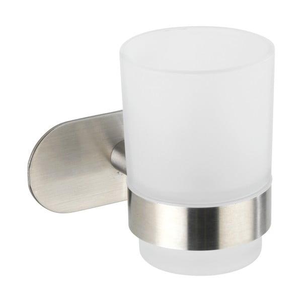 Recipient de perete pentru periuțe de dinți cu suport din oțel inoxidabil mat Wenko Uno Bosio Turbo-Loc®, alb