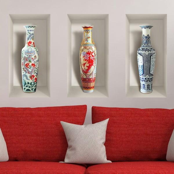 Komplet 3 naklejek ściennych 3D Ambiance Ceramic Vases