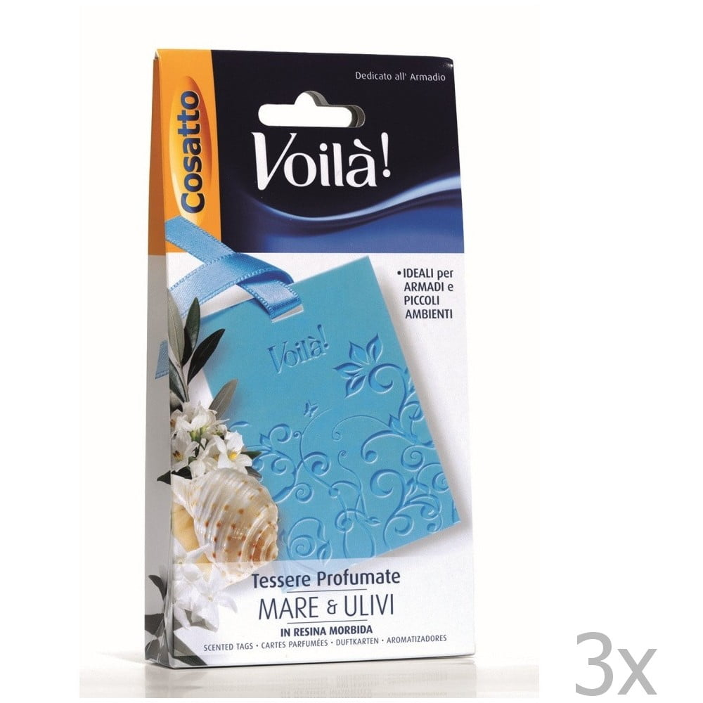Sada 3 vonných karet s vůní moře a olivového dřeva Cosatto Perfume