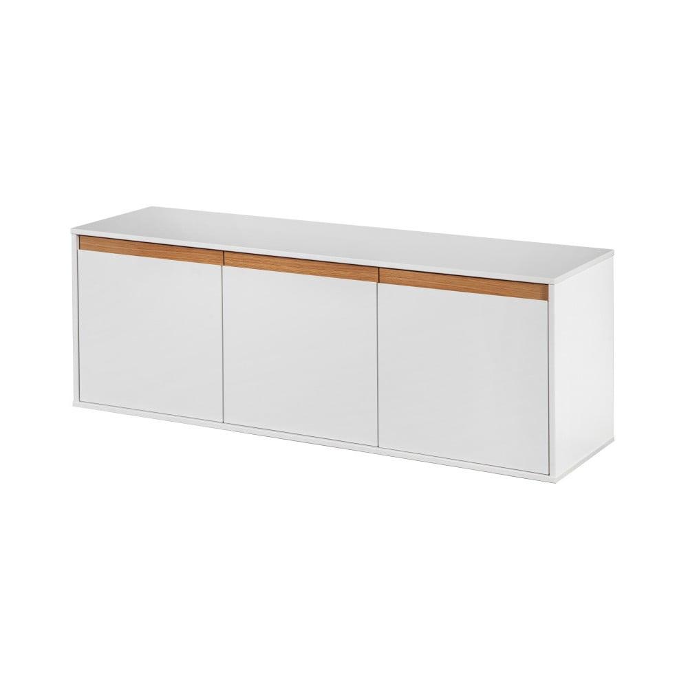 Bílá nástěnná komoda s dřevěnými detaily Dřevotvar Ontur13