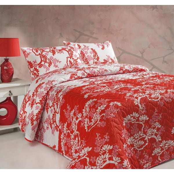 Sada prošívaného přehozu přes postel a dvou polštářů Double 276, 200x220 cm