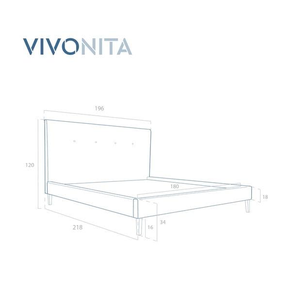 Tmavě morá postel Vivonita Kent Linen, 200x180cm
